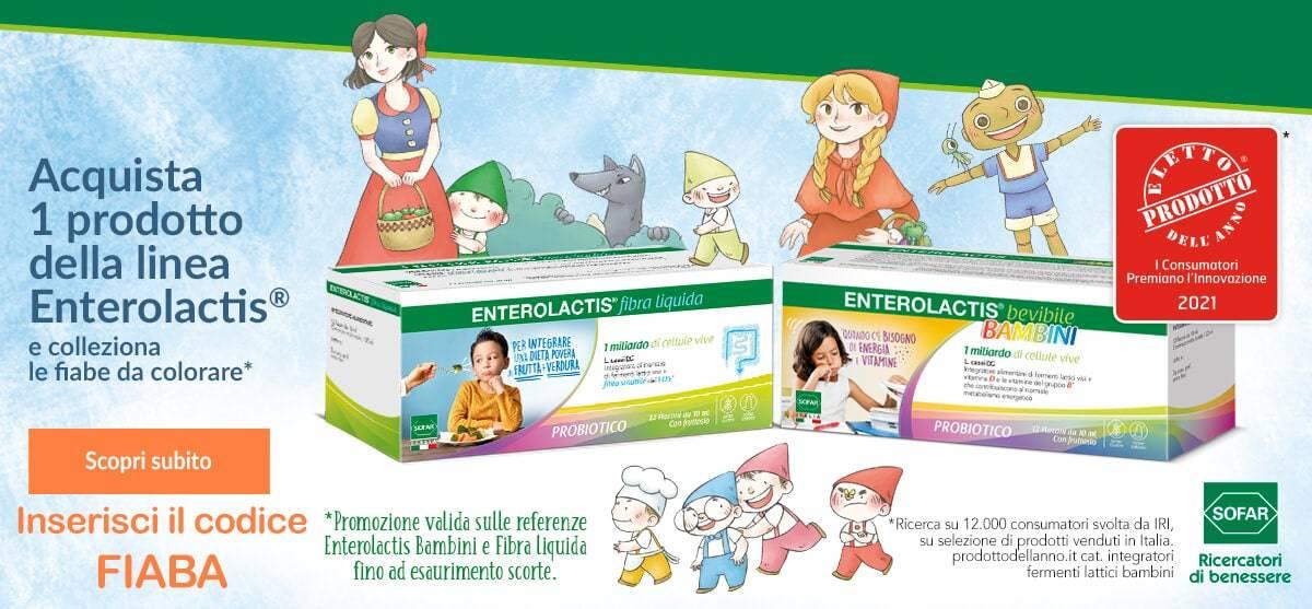 Con enterolactis bambini o fibra liquida in omaggio una fiaba
