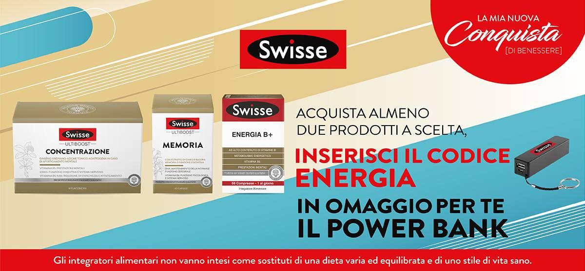 Con due prodotti swisse energia in regalo una power bank