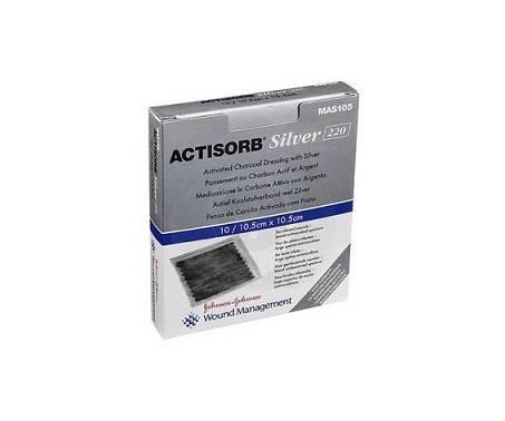 Actisorb Silver 220 medicazione in carbone attivo con argento 10,5x10,5cm 3 pezzi