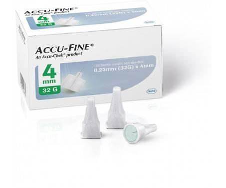 Accu-Fine Aghi Penna Per Insulina 4mm 32G 100 Pezzi
