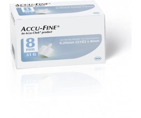 Accu-Fine Aghi Penna Per Insulina 8mm 30G 100 Pezzi