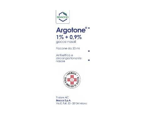 Argotone Rino Gocce Nasali 1%+0,9% Efedrina / Argento vitellinato Antisettico 20 ml
