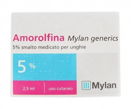 Amorolfina Mylan Generics - 5% Smalto medicato per unghie - 2,5 ml [Farmaco Equivalente Onilaq e Onilaqare]