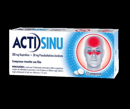 Actisinu - 200mg Ibuprofene + 30mg Pseudoefedrina cloridrato - 12 compresse rivestite